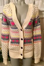PINK By Victoria's Secret Fair Isle Hooded Cardigan Sweater, Peace Hearts, Sz S