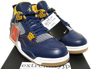 a524b029f0a8 DS 2016 NIKE AIR JORDAN 4 IV RETRO Dunk From Above navy gold 308497 ...