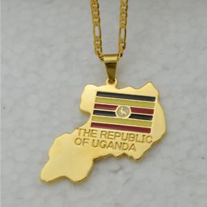 Republic of Uganda Gold Plated Map Necklace Pendant /& Chain Africa Ugandan UK