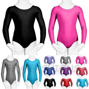 Childrens-Girls-Leotard-Gymnastic-Dance-Ballet-Long-Sleeve-Shiny-Lycra-3-14-Yrs