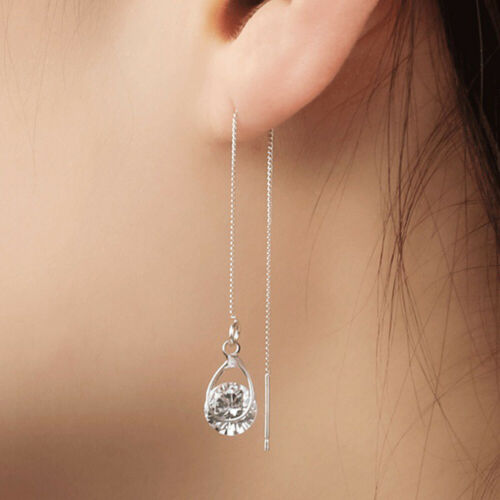 Elegante Long Drop Ohrringe Frauen Silber//Gold Mode Tssel Schmuck Ein Paar !DE
