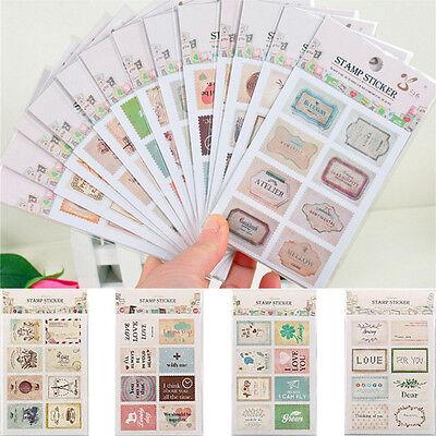 DIY Scrapbook Note Paper Retro Tower Flower Stamps Stickers Decoration Sticker