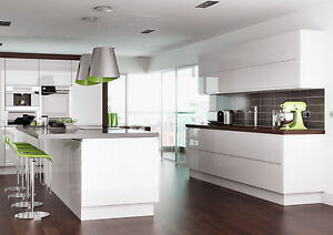 Image Is Loading Complete Fully Embled Lucente Gloss White Handleless Kitchen