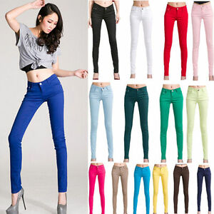 Women-Lady-Slim-Fit-Pencil-Skinny-Leg-Pants-Casual-Stretch-Jeans-Trousers-S-4XL