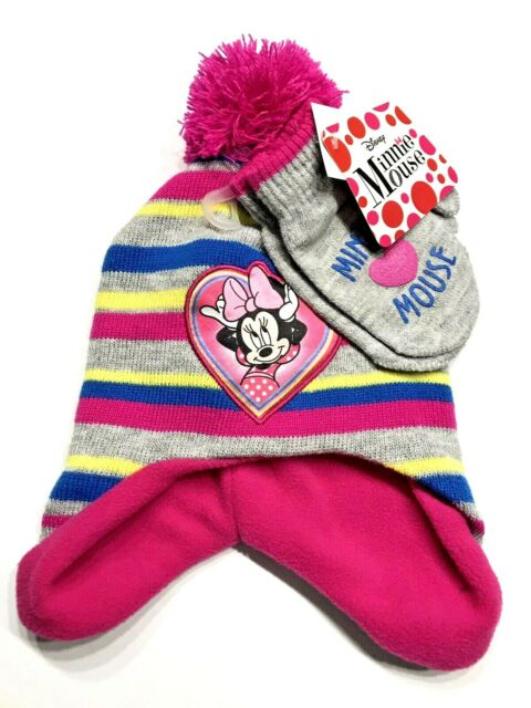 Disney Minnie Mouse Hat Mittens Pink Girls Age 2-4 Cold Weather Set Toddler