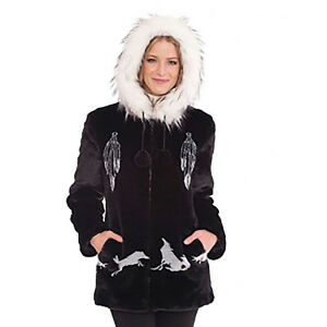 Catcher Coat Fur Lining With Wolf Sm Faux Satin Black Hooded Dream 3x Mountain RExqwqCgU