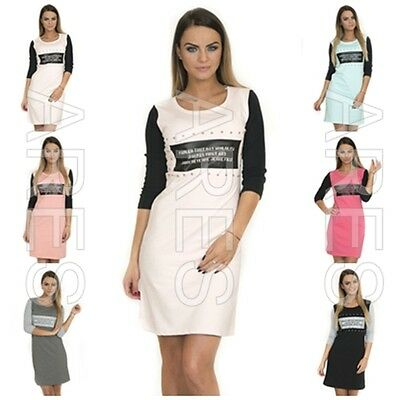 Offen Ladies Dress One Size 8/10/12 Women's Casual Dress Rivets Knitted 4/3 Sleeves Und Verdauung Hilft