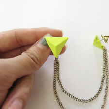 Triangle Collar Tips Pins - NEON YELLOW