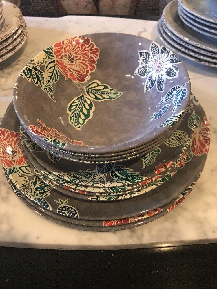 Home Studio Design Floral Mélamine Vaisselle Collection Vaisselle 12 pieces