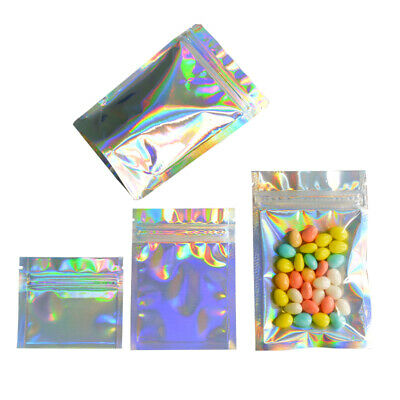 100PCs holographic packaging bags foil bags mylar ziplock bags NEW