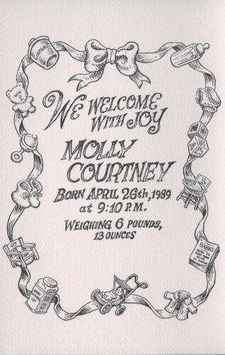 CRUMB R 1989 BIRTH ANNOUNCEMENT FOR  MOLLY ART BY CRUMB!