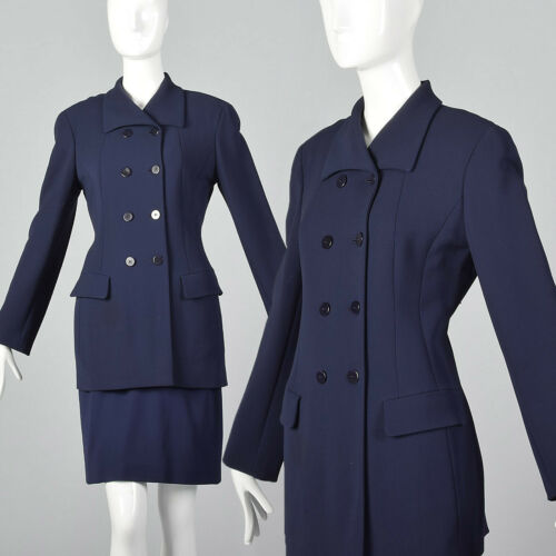 Small 1980s Donna Karan Navy Blue Skirt Suit VTG F