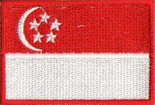 Singapour patche écusson patch drapeau Singapore 75x50 mm brodé thermocollant