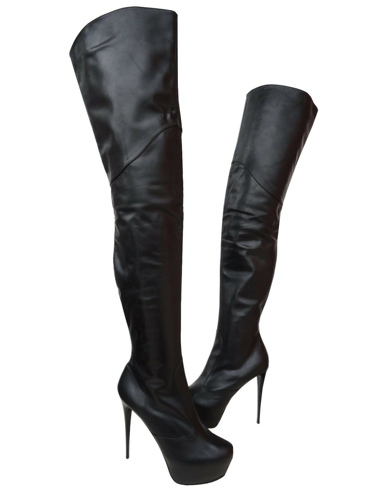 CQ COUTURE PLATFORM OVERKNEE BOOTS STIEFEL STIVALI SHOES LEATHER BLACK black 43