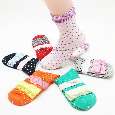 5 Pairs Lot Womens Ladies Polka Dots Floral Frilly Top Cute Cotton Short Socks