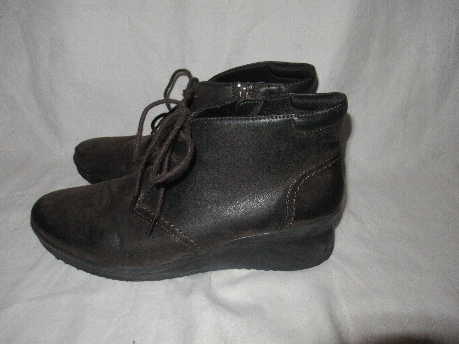 CLARKS CLOUD STEPPERS Brown Leather ANKLE BOOTS WOMENS SZ 10 M Vibram Soles