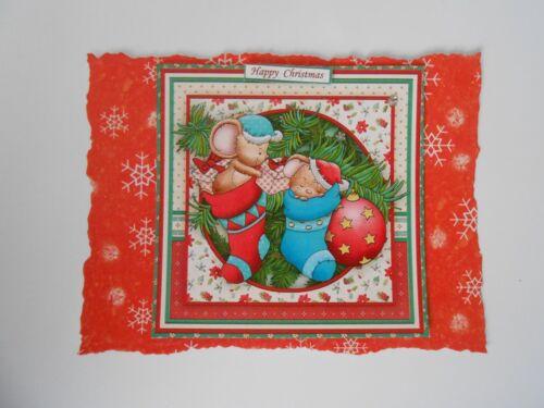 PK 2 Navidad feliz RATONES ADORNO TOPPERS PARA TARJETAS /& Craft