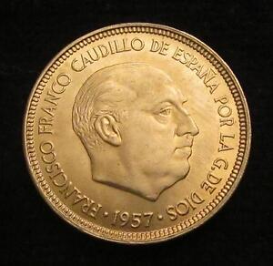 *gutse* Franco-641, 5 Pesetas 1957*62, Error (7a), Peso Mayor, Sin Circular Limpide à Vue