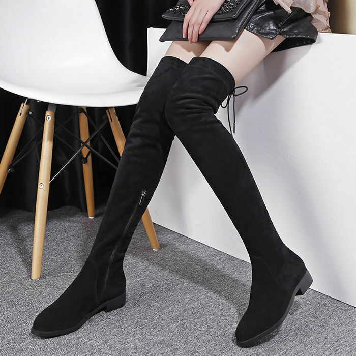 Chic Women's Suede Leather Over Knee Thigh Riding Boots Low Block Stretchy Shoes
