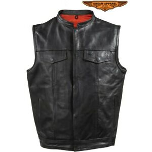 Mens Motorcycle Club Leather Vest With Red Liner & Gun Pocket