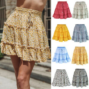 Women-Floral-Short-Skirts-High-Waist-Pleated-Beach-Dress-Ruffled-Summer-Skirt