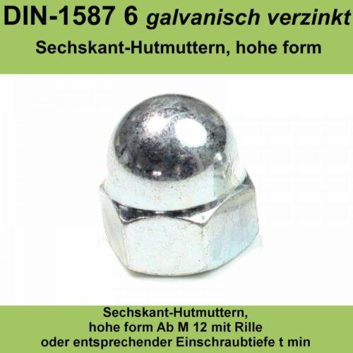 M12 DIN 1587 Hutmuttern verzinkte Sechskantmuttern hohe Form Stahl Hoch 20-500St