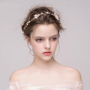 Wedding-Bridal-Pearl-Flower-Hair-Bands-Gold-Leaf-Rhinestone-Headband-Tiara