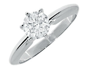 ahorrar 55dfd b4978 Detalles de 14k Oro Blanco para Mujer Redondo 1 Diamante Anillo de Bodas  Compromiso 0.92Ct
