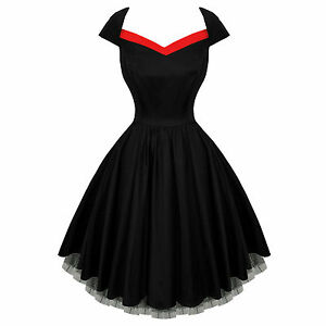 Hearts-and-Roses-London-Black-Flared-50s-Style-Vintage-Party-Prom-Dress-UK