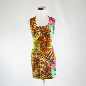 Goldenrod-yellow-blue-floral-print-JOSEPH-RIBKOFF-sleeveless-sheath-dress-2-36