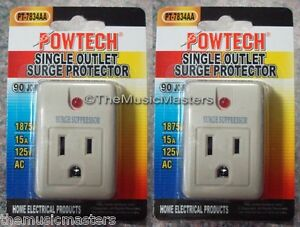 2X-Single-Outlet-AC-Wall-Plug-Surge-Protector-Power-Suppressor-90-Joules-1875W
