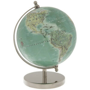 Decorative Globe On Silver Metal Stand Elegant Educational Home Accent
