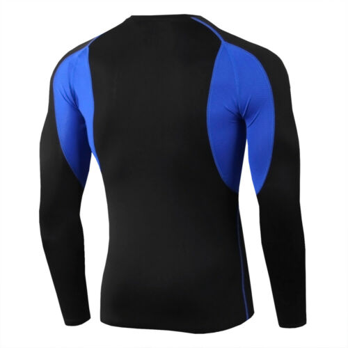 Mens Compression Shirts Workout Gym Skin Baselayer Long-Sleeve T-Shirt Quick Dry