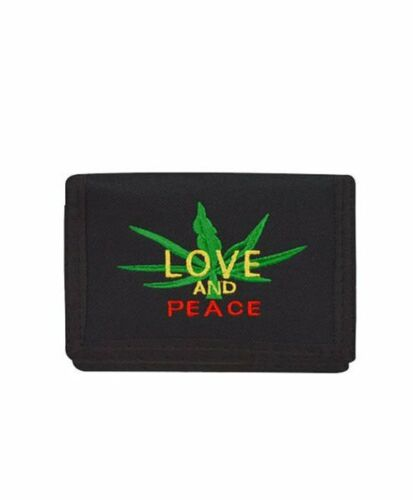 Men/'s Weed Marijuana Leaf Tri-Fold Wallet Black Love and Peace Embroidered