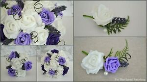 Wedding-bouquet-with-lavender-amp-purple-roses-Flower-girl-wand-buttonhole-cors