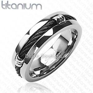 Men-039-s-7mm-Solid-Titanium-Black-IP-Wire-Rope-Inlay-Wedding-Band-Size-9-14
