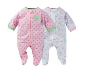 3f14c0d97 Gerber Baby Girl 2-Piece Zip Front Sleep  N Plays Pink Butterfly ...