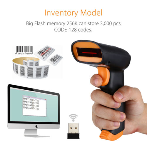 2.4GHz Wireless Wired Wifi Cordless Barcode 1D 2D Scanner Reader Professional