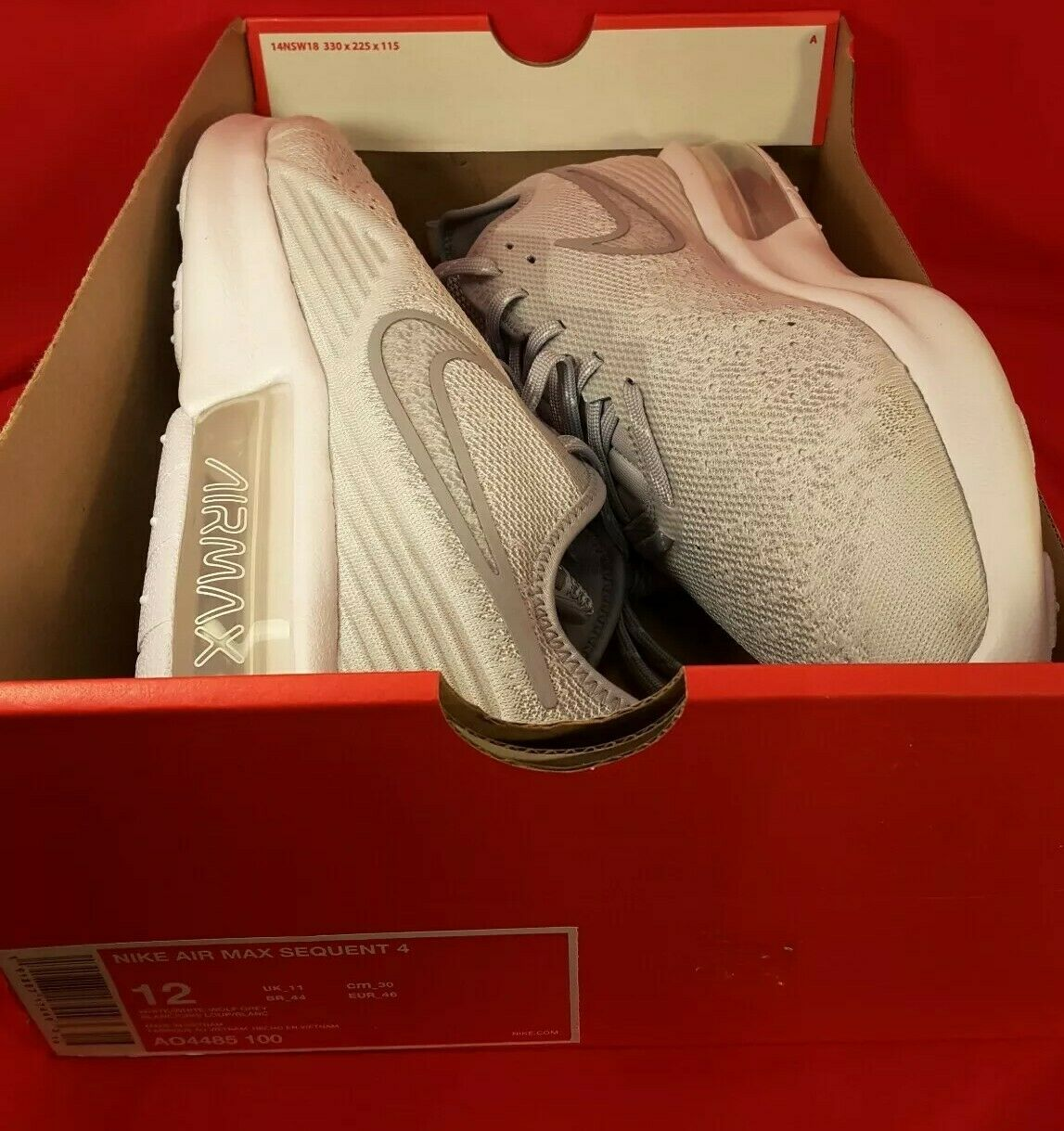 Nike Air Max Sequent 4, vit  Wolf grå, AO4485 -100, ny in Box, US män 12