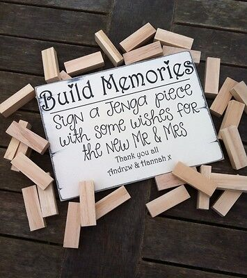 Alternative Guest Book Wedding Sign Build Memories Jenga Sign Personalised