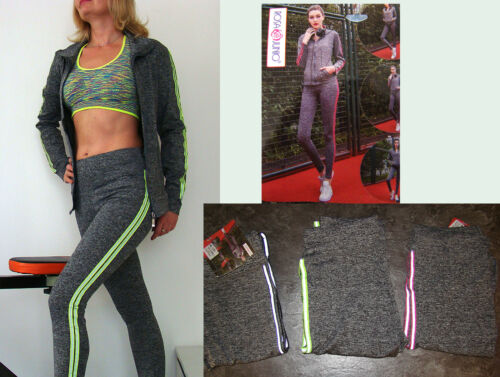 SET Fitnessanzug Trainingsanzug 2 Teilig Leggings+Jacke Sportjacke Sportanzug XL