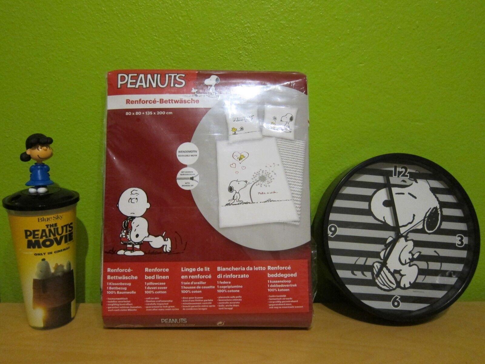 Neu 2 tlg Kinderbettwäsche The Peanuts Snoopy Uhr Figur Trinkbecher Bettwäsche