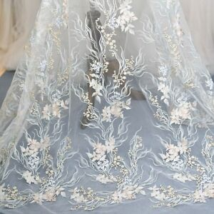 Wedding Dress Material | Embroidery Lace Mesh Fabric Trimming Diy Material Floral Wedding