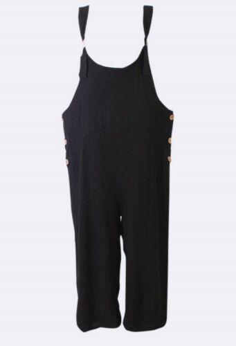 Femme Plaine Dungaree mode italienne lagenloook Summer LIN à encolure ras-du-cou Combinaison