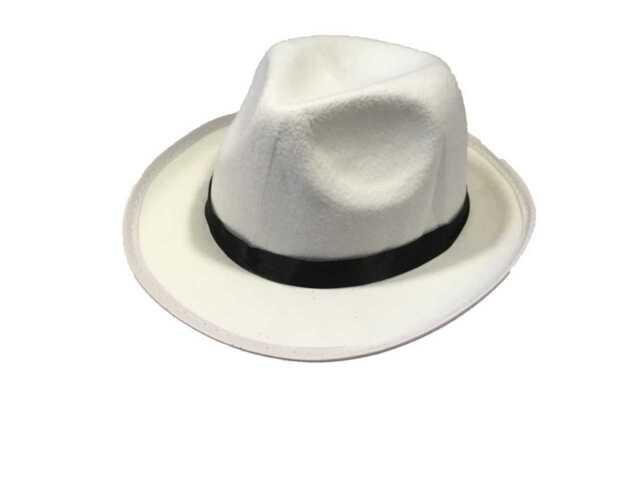 86e3afa4531c5 Adult White Al Capone Gangster Michael Jackson Trilby Fedora Hat Qrui-0024