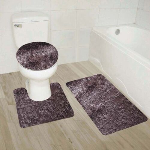 Bathroom Set Mat Rug Lid Cover Fluffy Long Hair Faux Fur Shag 3pc #9 BROWN