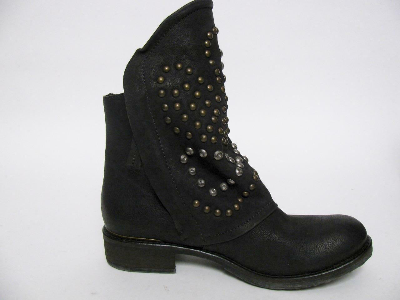 FRED SEGAL FEET BLACK LEATHER SILVER BRASS STUDDED SLOUCH MOTO BOOTS SHOES41