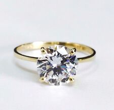 14K Solid Yellow Gold Solitaire CZ Engagement Ring 8mm Cubic Zirconia (2 Carat)
