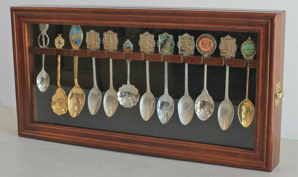 12 Souvenir Spoons Shadow Box Cabinet Rack Wall Display Case SP12-WALN