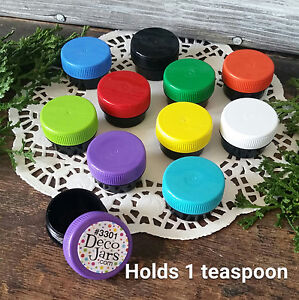 100 Tiny Black Plastic JARS Container 1 Tsp USA Reusable New Multi Color Caps
